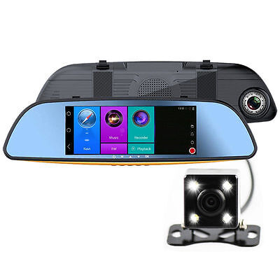 "7"" Android Navigation Rear View Mirror GPS Car DVR Wireless Wifi Recorder HD"