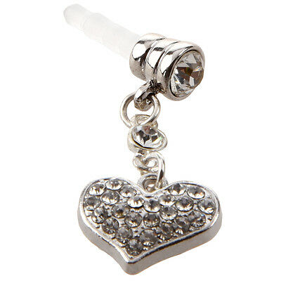 1p Clear Crystal Heart Dangle Anti Dust Plug Stopper for Iphone Cell Phone Q4E6