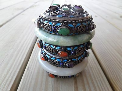 Antique c1900 Chinese Export 800 Silver Jade Tourmaline Cloisonne Tea Caddy Box