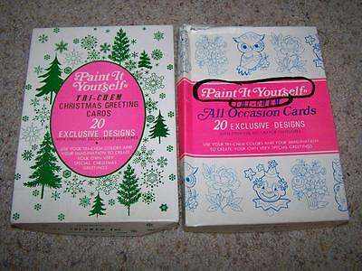 Vintage TRI-CHEM Paint It Yourself All Occasion & Christmas GREETING CARDS
