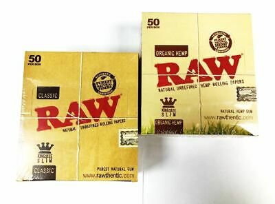 Smoking King Size Slim RAW Box Of Papers Organic Hemp x1 & Classic x1 100 Papers