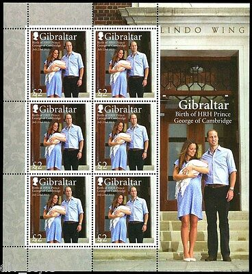 Birth of HRH Prince George of Cambridge Gibraltar sheet of 6 stamps, mnh