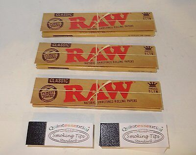 Smoking Bundle 3 Raw Classic Rolling Papers & 2 Quintessential Smoking Tips RAW