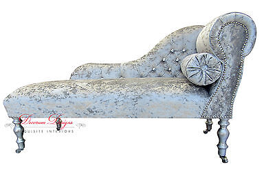 Gorgeous Crushed Silver Velvet Diamonte Button Back Chaise Longue
