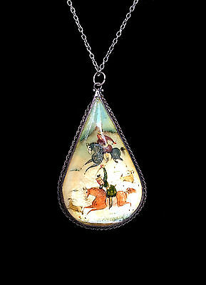 PERSIAN Miniature Mother Of Pearl Teardrop Hand Painted Pendant Hunters & Birds