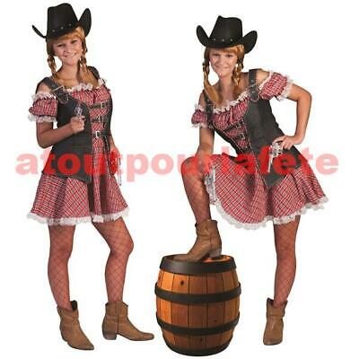 Déguisement de Cowgirl, Cow Girl adulte, Country,Farwest, Western, Carnaval