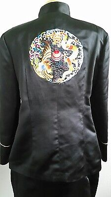 Women's Chinese Traditional Embroidered Black Satin Suit Jacket/Skirt Sz L or XL
