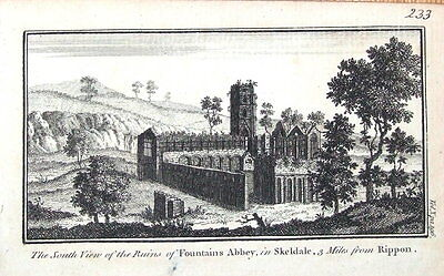 YORKSHIRE FOUNTAINS ABBEY RIPPON  Original Antique Copper Engraved Print c1770