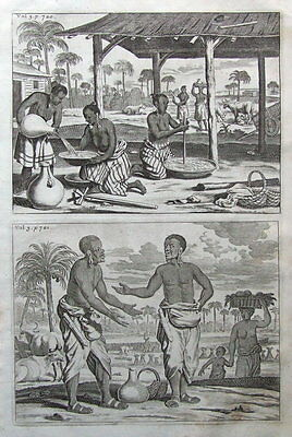 NATIVE VILLAGE, SRI LANKA, CEYLON CHURCHILL'S VOYAGES antique  print 1744.