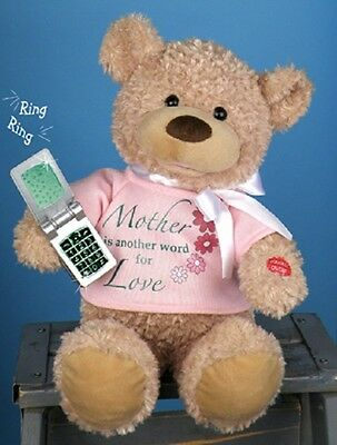 """NWT PBC Singing Talking Mother bear With Cell Phone singing """"You And Me Against"""