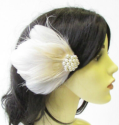 Cream Ivory Peacock Feather Fascinator Hair Clip Pearl Bridal Headpiece 1894