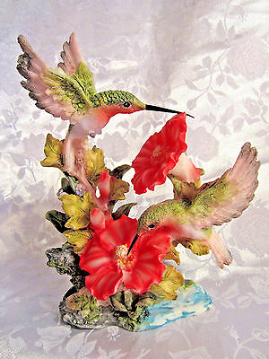 Hummingbirds on flowers resin figurine by May Rich collectible birds