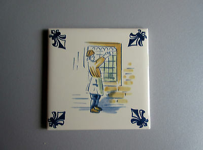 Vtg : KLM Ducht Delft COASTER / TILE Polychrome Handicraft Series / Glass Maker