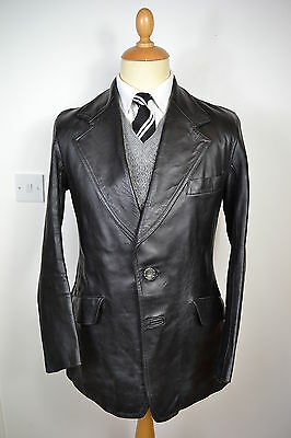 VINTAGE 1970's UK MADE BLACK DAVPARK LEATHER JACKET BLAZER COAT SMALL 38 REGULAR