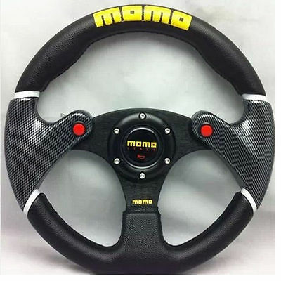 "VOLANTE MOMO UNIVERSAL 330 mm 13"" IN PELLE AUTO CAR RACING RALLY DRIFTING"