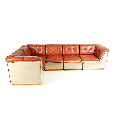 Retro Vintage Danish Leather Modular Corner L Shape Sofa Mid Century 60s 70s