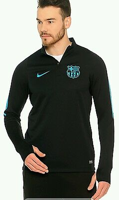 Men's Nike FC Barcelona Drill Top Soccer Jersey Shirt Black 715673-013 Small