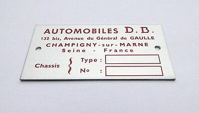 Plaque constructeur Automobile DB - Automobile DB vin plate