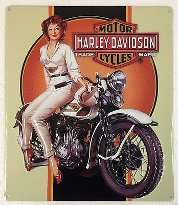 Ande Rooney HARLEY DAVIDSON DREAMING BABE Girl Motorcycle HD Man Cave Tin Sign