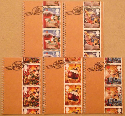 5 New Wallace & Gromit Royal Mail Christmas Stamps A5 Notebooks Mint Condition