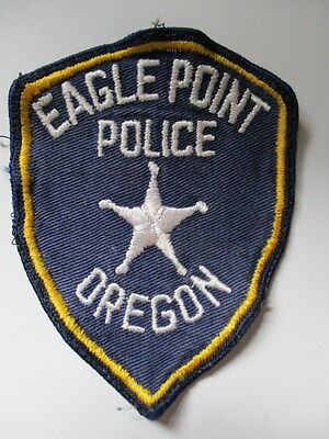 Eagle Point POLICE SHEILD PATCH Obsolete Officer Patrol Used  VTG Cloth FADED