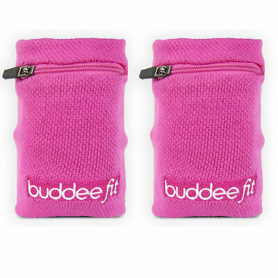 2PK Buddee Sports Pink Wristband/Zippered Pocket Jogging/Running Armband/Wallet