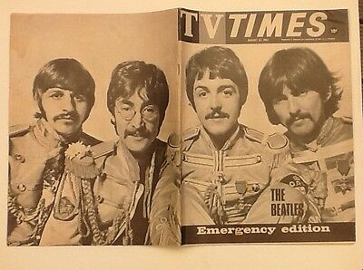 The Beatles Front / Back covers TV Times August 23,1967 Emergency Edition.RARE.
