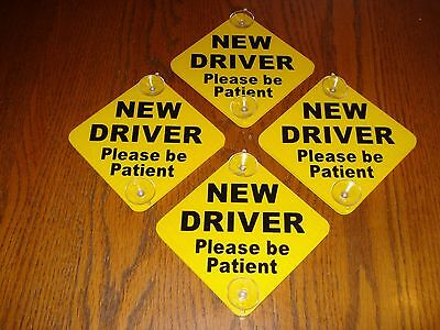 """(4) NEW DRIVER """"Please Be Patient""""  Car Window Signs with Suction Cups 5""""x 5"""""""