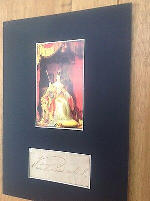 Queen Victoria display with personal autograph.11x8 ins approx