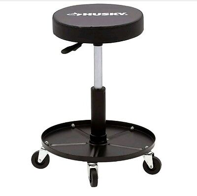 NEW Husky Rolling Shop Seat Garage Stool Adjustable Mechanics Chair Heavy-Duty