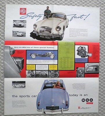 1960 MG MGA 1600 POSTER / Brochure with Specifications: M-G,A