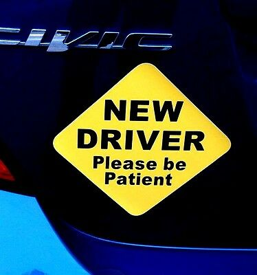 """(2) NEW DRIVER """"Please Be Patient"""" Magnetic Signs 5"""" x 5"""" for Student Driver"""
