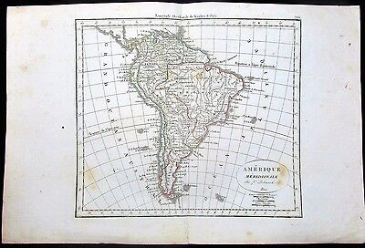 South America Brazil Colombia Peru Venezuela 1824 antique hand color map