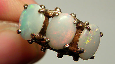 Antique REAL 9ct GOLD Natural 2.75ct Opal trilogy Vintage Ring London 1975