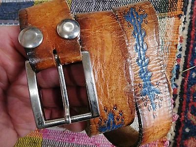 Vintage Canada Made Brown Leather Tooled Hand Painted Belt With Buckle Approx 36