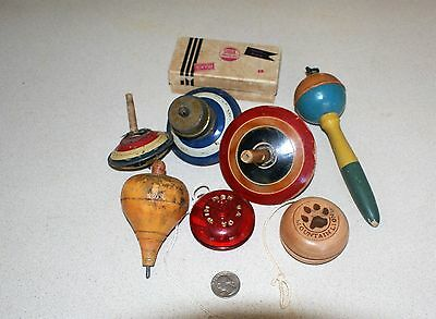 Lot of Vintage Wood Spinning Tops, a Couple of Yo Yos, and a Noise Maker