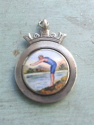 Antique enamel Swimming medal by W.H.HASLZER