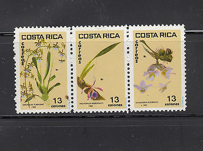 Costa Rica 1985  13C Orchids strip of 3 Sc 337a Mint never hinged