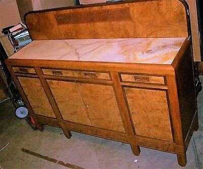 Antique Italian Marble Top Buffet Server Sideboard Wine Bar with Backsplash.