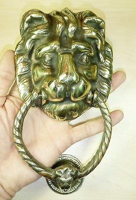 LARGE HANDMADE LION HEAD SOLID CAST BRASS DOOR KNOCKER - ANTIQUE STYLE New