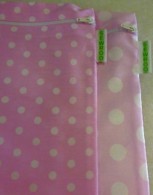 Cotton Wash Bags in Blue, Pale Pink with Big White Spots, Pink