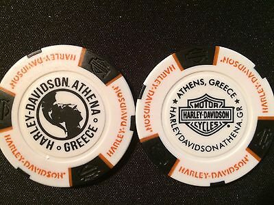 "Harley Davidson Poker Chip (White & Black) ""Athena"" Athens, Greece"