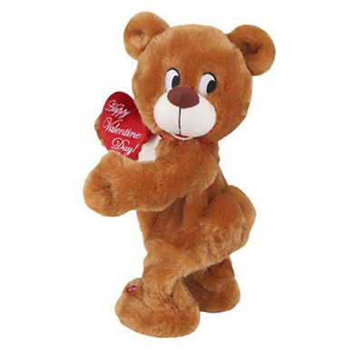 """Dancing Musical Valentines Day Brown Teddy Bear Plush Gift Toy, Plays """"Stitches"""""""