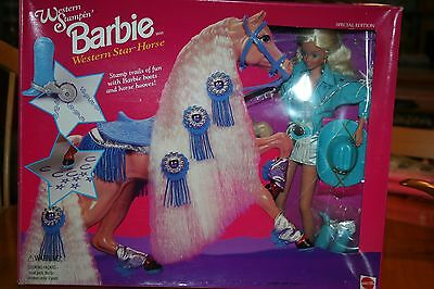 1993 Western Stampin'Barbie w/Western Star Horse/New-NRFB-Some Box Damage