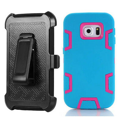 Covdo Blue/Hot Pink Shockproof Cover & Holster Case For Samsung Galaxy S7