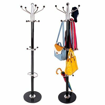 Coat Hanger Stand Rack Clothes Metel Steel Hat Jacket Bag Umbrella Hook Black