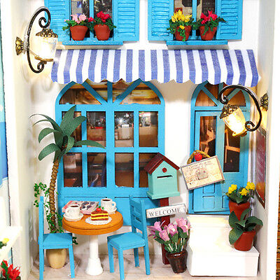 Wood Dollhouse Miniature DIY Kit w/ Cover +LED +Furniture Toy Doll House Room#4