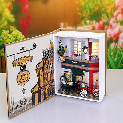Wood Dollhouse Miniature DIY Kit w/ Cover +LED +Furniture Toy Doll House Room#2