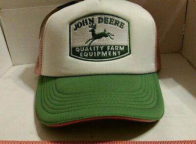 JOHN DEERE 4 LEG PINK THROWBACK LOGO MESH Trucker Hat Cap BRAND NEW LICENSED