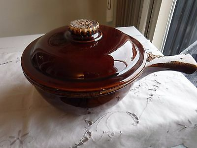 Hull Usa Brown Drip Glaze Oven Proof Pottery Casserole